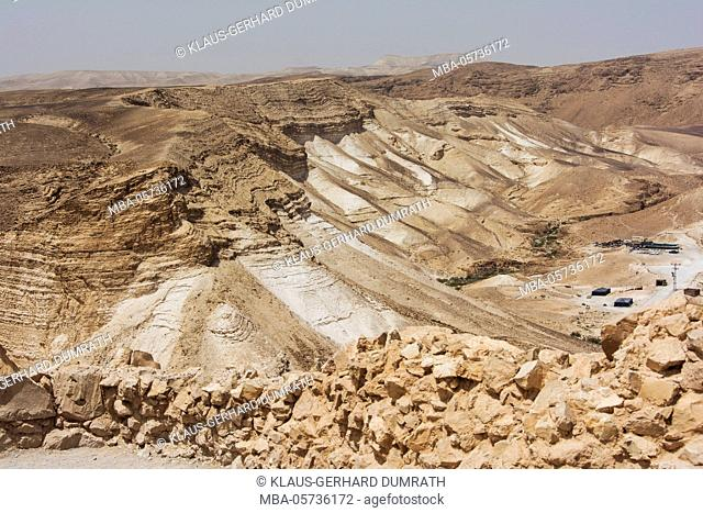 Israel, West Bank, Masada, national park, desert landscape, Negev
