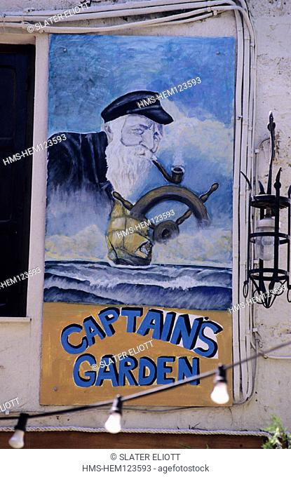 Greece, Dodecanese, Rhodes Island, Rhodes, painted sign