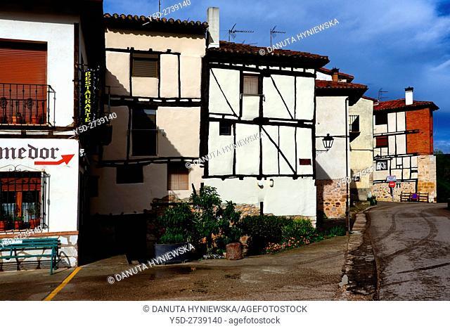 old town of Covarrubias, street along Arlanza river, Covarrubias, Ruta del Cid, Burgos province, Castilla-León, Castile and León, Castilla y Leon, Spain, Europe