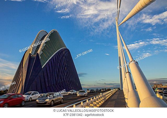 El Pont de l'Assut de l'Or and L'Agora, in City of Arts and Sciences. Valencia, Spain
