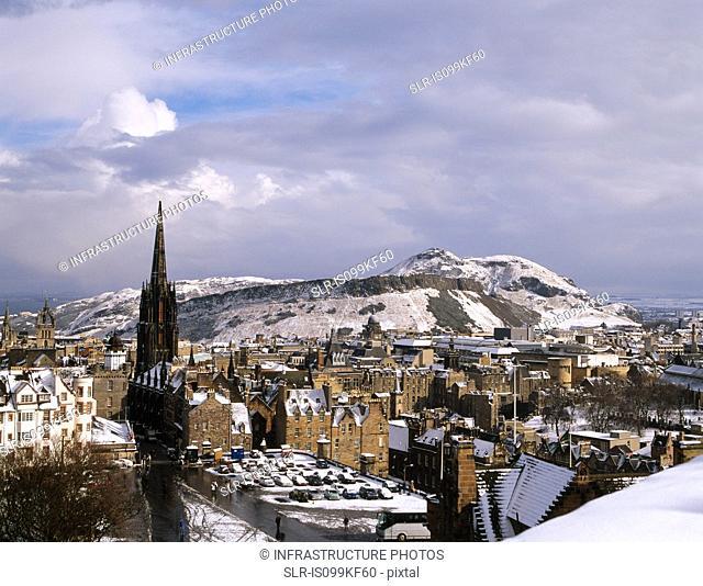 Edinburgh Old Town viewed from Edinburgh Castle, Scotland