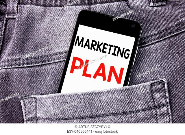 Conceptual hand writing text caption showing Marketing Plan. Business concept for Planning Successful Strategy written mobile cell phone with space in the back...
