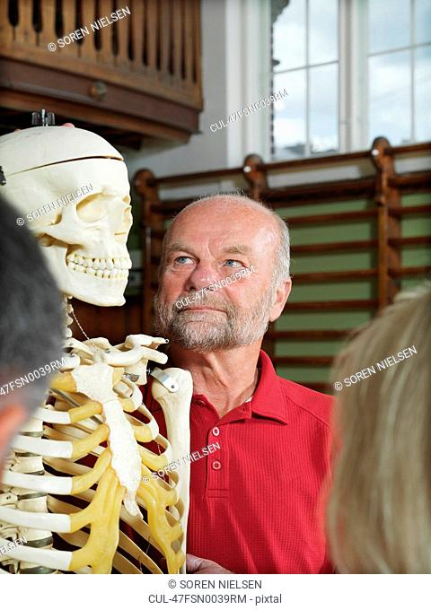Older people examining skeleton