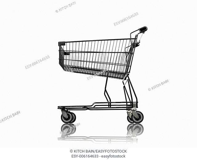 A shopping trolley isolated against a white background