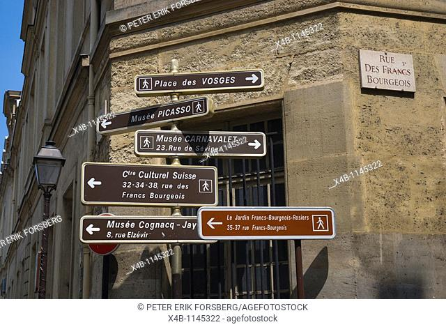 Street signs Rue des Francs Bourgeois Le Marais district central Paris France Europe
