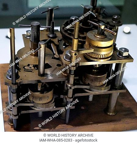 Difference engine, an automatic mechanical calculator designed to tabulate polynomial functions, designed by Charles Babbage (1791-1871) an English polymath