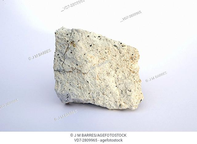 Bentonite sample. Bentonite is composed mainly of montmorillonite a phyllosilicate. This sample comes from Cabo de Gata, Almeria, Andalusia, Spain