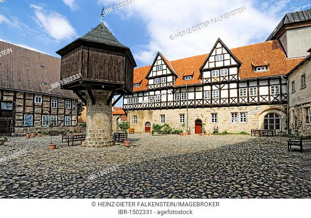 Ancient palace, estate is is being restored and will become a mediaeval museum, east wing, In der Word, Quedlinburg, Saxony-Anhalt, Germany, Europe