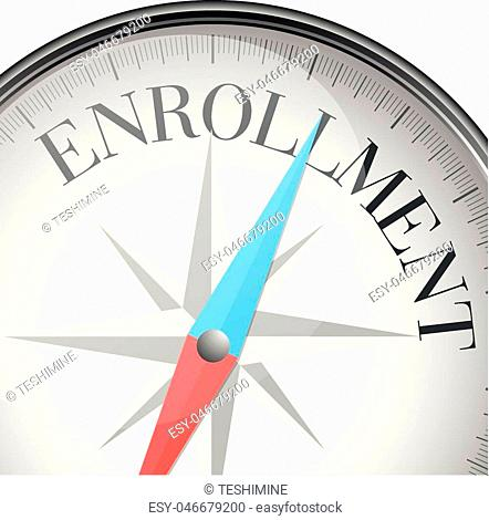 detailed illustration of a compass with enrollment text, eps10 vector