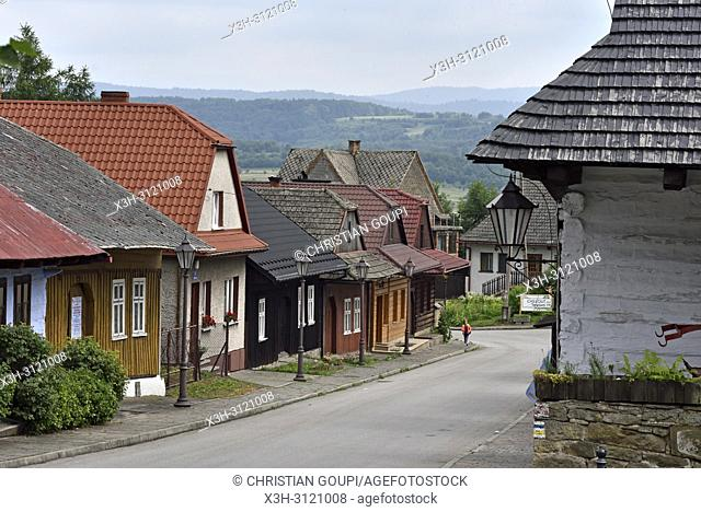 Jozefa Pilsudskiego street, village of Lanckorona, renowned for its well preserved 19th century wooden houses, Malopolska Province (Lesser Poland), Poland