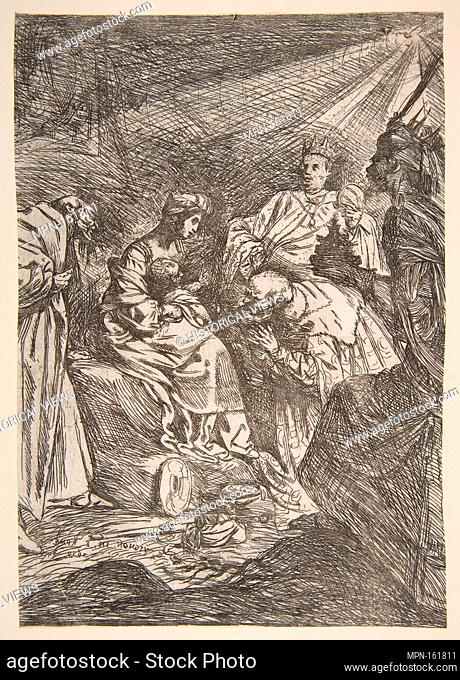 The Adoration of the Magi. Artist: Claude Vignon (French, Tours 1593-1670 Paris); Date: 1619; Medium: Etching in reverse; first state of two (Pacht Bassani);...