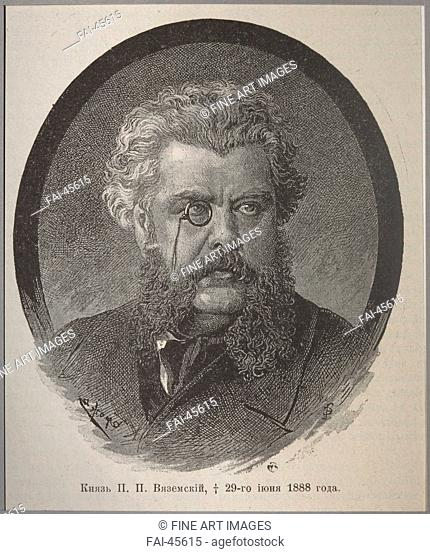 Prince Pavel Petrovich Vyazemsky (1820-1888) by Anonymous /Woodcut/Book design/1888/Russia/State Museum of A.S. Pushkin, Moscow/Portrait/Graphic arts/Fürst...