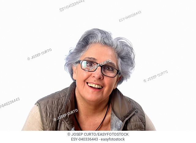 portrait of a senior woma on white background
