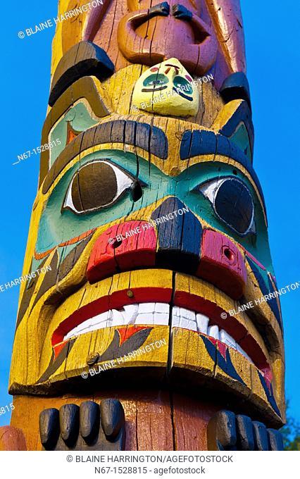 Saxman totem poles largest collection of totem poles in the world, Saxman, near Ketchikan, Southeast Alaska USA