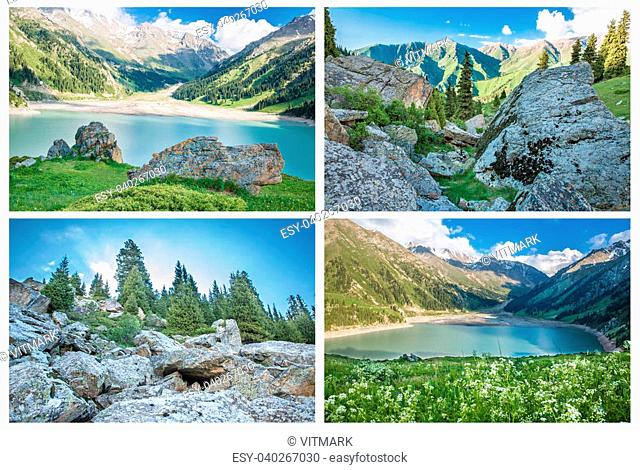 Collage of panorama of spectacular scenic Big Almaty Lake ,Tien Shan Mountains in Almaty, Kazakhstan,Asia at summer
