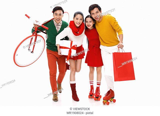 Young men and women fashion shopping