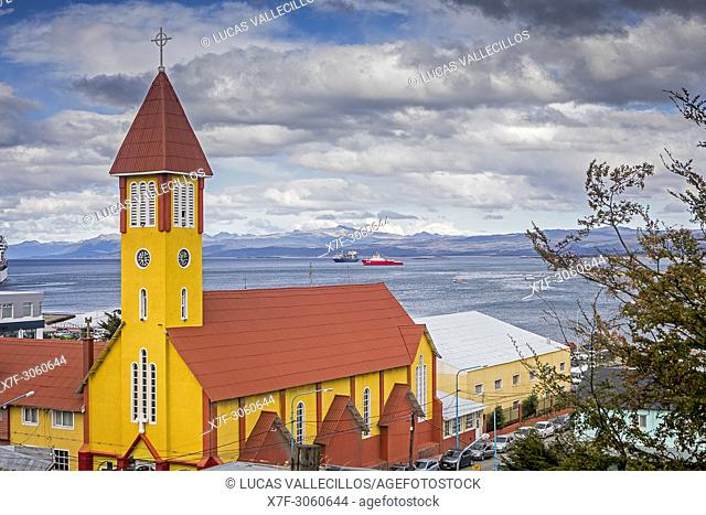 Iglesia nuestra senora de la merced, our lady of mercy church and Beagle Channel, Ushuaia, Tierra del Fuego, Patagonia, Argentina