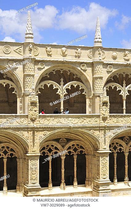 Cloisters of the Jeronimos Monastery (Mosteiro dos Jeronimos), a Unesco World Heritage Site. Lisbon, Portugal