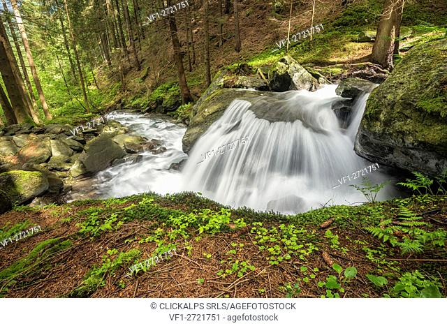 Lutago/Luttach, Aurina Valley, South Tyrol, Italy. The Pojen creek in the Aurina Valley