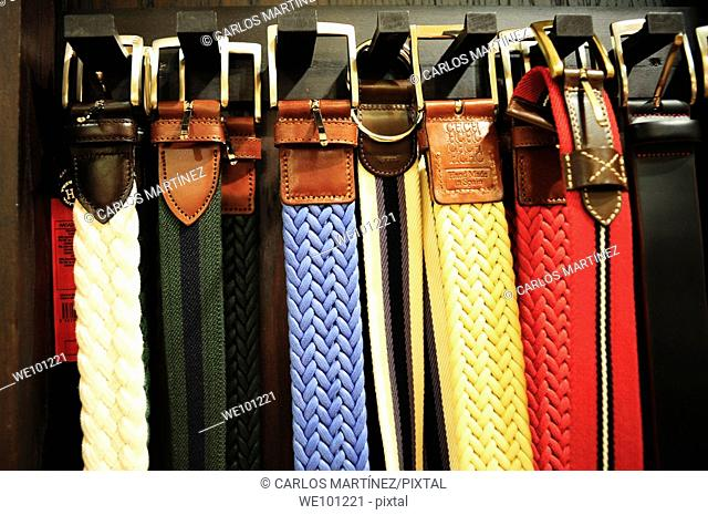 Belts in a department store, Barcelona, Catalonia, Spain