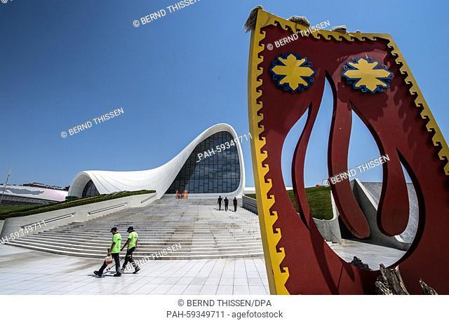 The Heydar Aliyev Cultural Center as seen during the Baku 2015 European Games in Baku , Azerbaijan, 20 June 2015. Photo: Bernd Thissen/dpa | usage worldwide