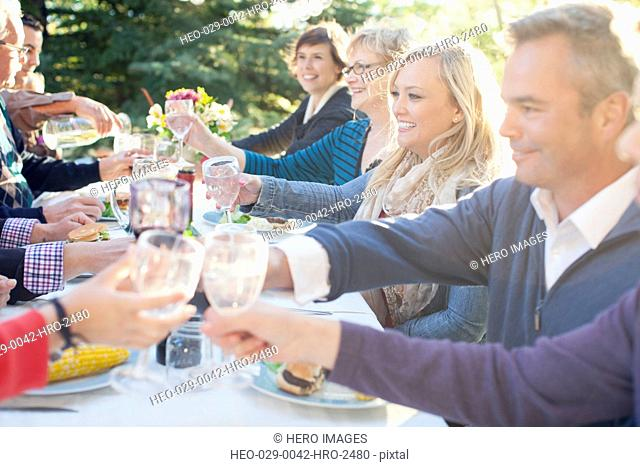 Family making a toast at outdoor family reunion