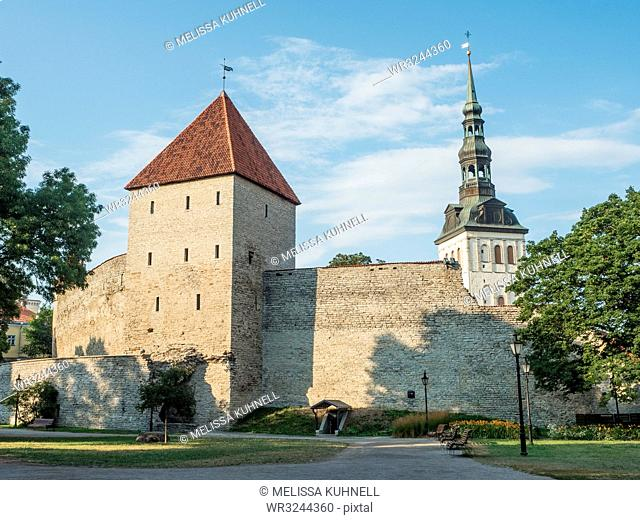 Medieval city wall, Tallinn, Estonia, Baltics, Europe