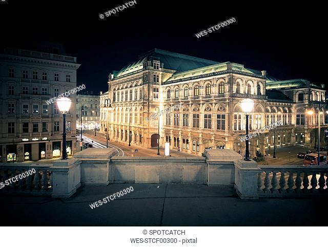 Austria, Vienna, State Opera at night