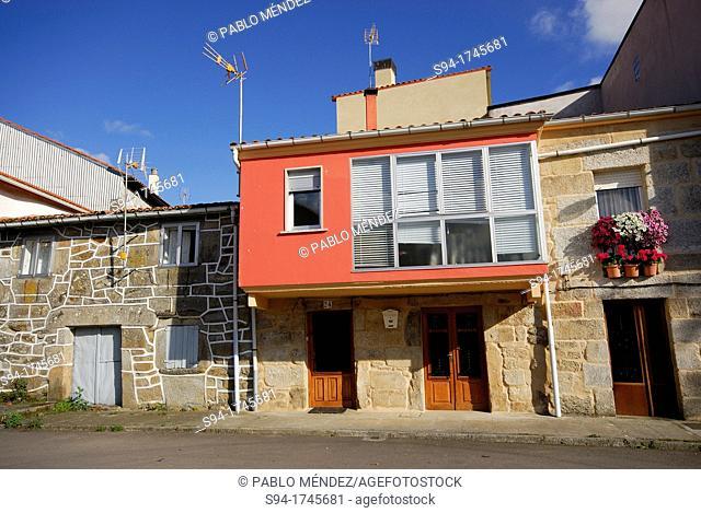Typical facades in Montederramo, Orense, Spain