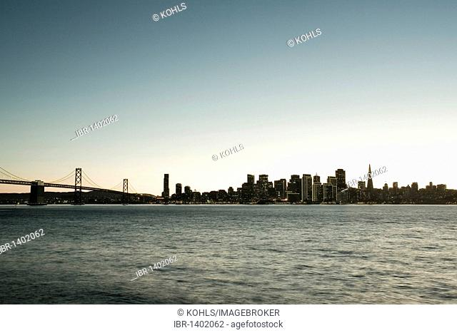 View from Treasure Island, San Francisco skyline and Oakland Bay Bridge, California, United States of America