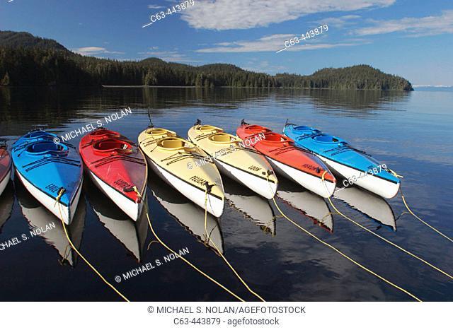 Kayaks at anchorage in Southeast Alaska