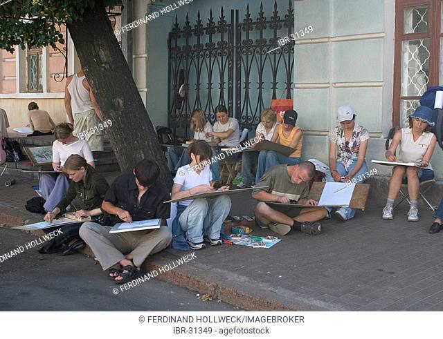 Ukraine Kiev district Podil near to Kontraktova place students sitting and painting a object 2004