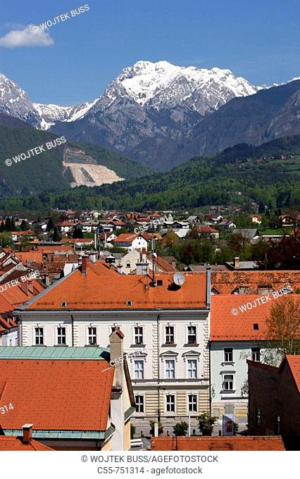 Kamnik, old town houses, Franciscan Monastery, 1495, Church of St Jacob, 15th century, redesigned in Baroque style, Kamniske Savinje Alps, Slovenia