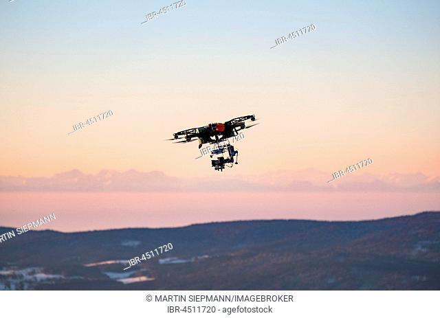 Flying drone, Großer Arber, Bavarian Forest, Lower Bavaria, Bavaria, Germany