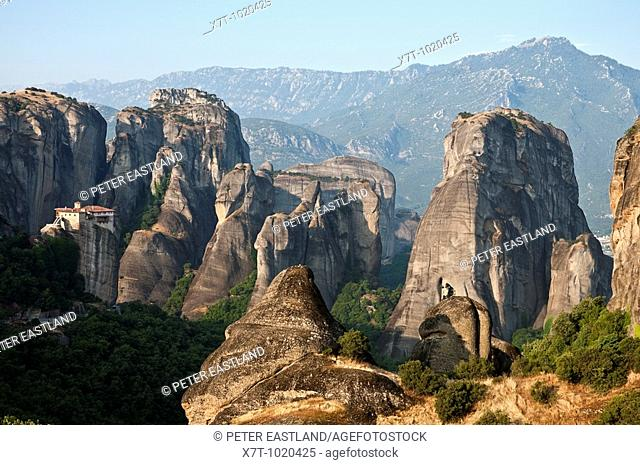 looking down on the monastery of Roussanou and the strange rock formations of the Meteora near Kalambaka, in Thessaly, central Greece