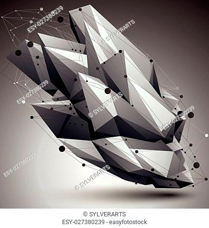 Contemporary technology black and white stylish architectural construction, abstract 3d figure with connected lines and dots