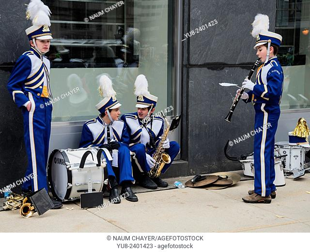 Two young musicians in bright blue and white suits in anticipation of the parade,St. Patrick's Day Parade, Philadelphia, PA, USA
