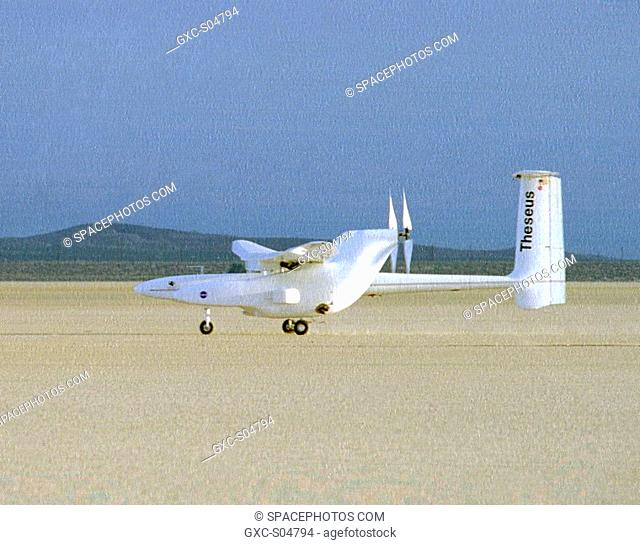 The Theseus prototype research aircraft takes off for its first test flight from NASA's Dryden Flight Research Center, Edwards, California, on May 24, 1996