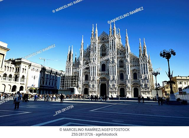 Cathedral in Piazza del Duomo, Milan, Lombardy, Italy, Europe