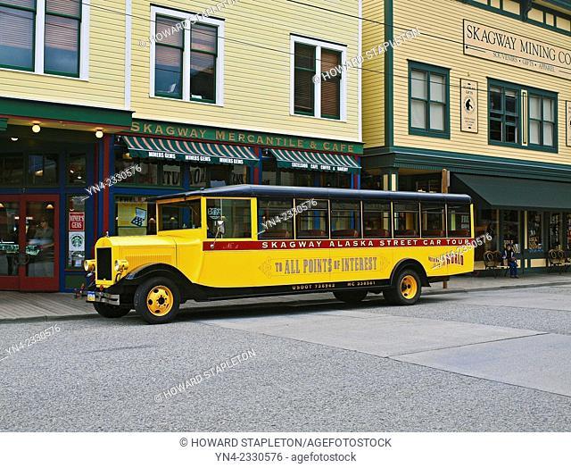 Tour bus in Skagway, Alaska