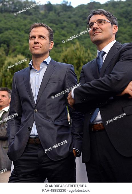 Manager Oliver Bierhoff (L) of the German national soccer team and the governor of South Tyrol, Arno Kompatscher (SVP), attend a reception for German media...