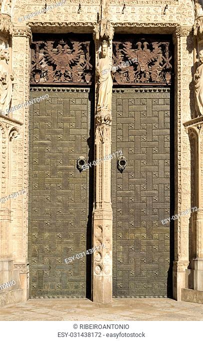 Detail of the door of the Portal of Forgiveness of the Cathedral of Toledo, Spain