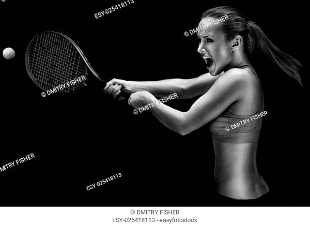 A portrait of a tennis player with a racket