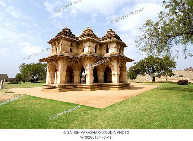 Lotus mahal amazing synthesis of Hindu and Islamic style at Hampi , Karnataka , India