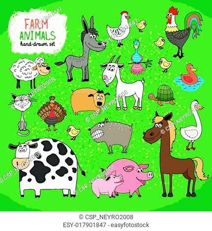 Set of hand-drawn farm animals