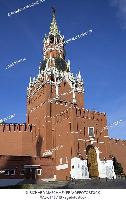 Saviour's Tower, Kremlin, UNESCO World Heritage Site, Moscow, Russia