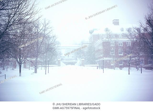 The Breezeway stands covered in snow around bare trees and a campus bathed in white, at Johns Hopkins University, Baltimore, Maryland, 2016