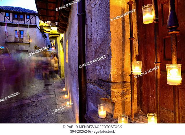 Candles night party in Pedraza, Segovia, Spain