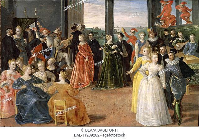 Hieronymus Francken I (1540-1610), Carnival in Venice.  Aquisgrana, Suermondt Ludwig Museum (Art Museum)