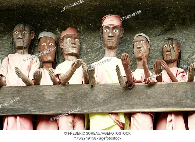 Effigies at traditional burial site at Lemo, Tana Toraja, Sulawesi, Indonesia, South East Asia